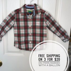 2T Boys Red Button Down Checked Shirt